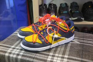 Off White x Nike Dunk Low LTHR - University Gold/White/Midnight Navy #CT0856-700-Sneakers-Navy Selected Shop