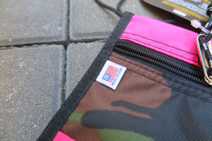 "Drifter Neck Pouch ""Made in USA"" - Woodland Camo X Hot Pink #DF0240-Bag-Navy Selected Shop"