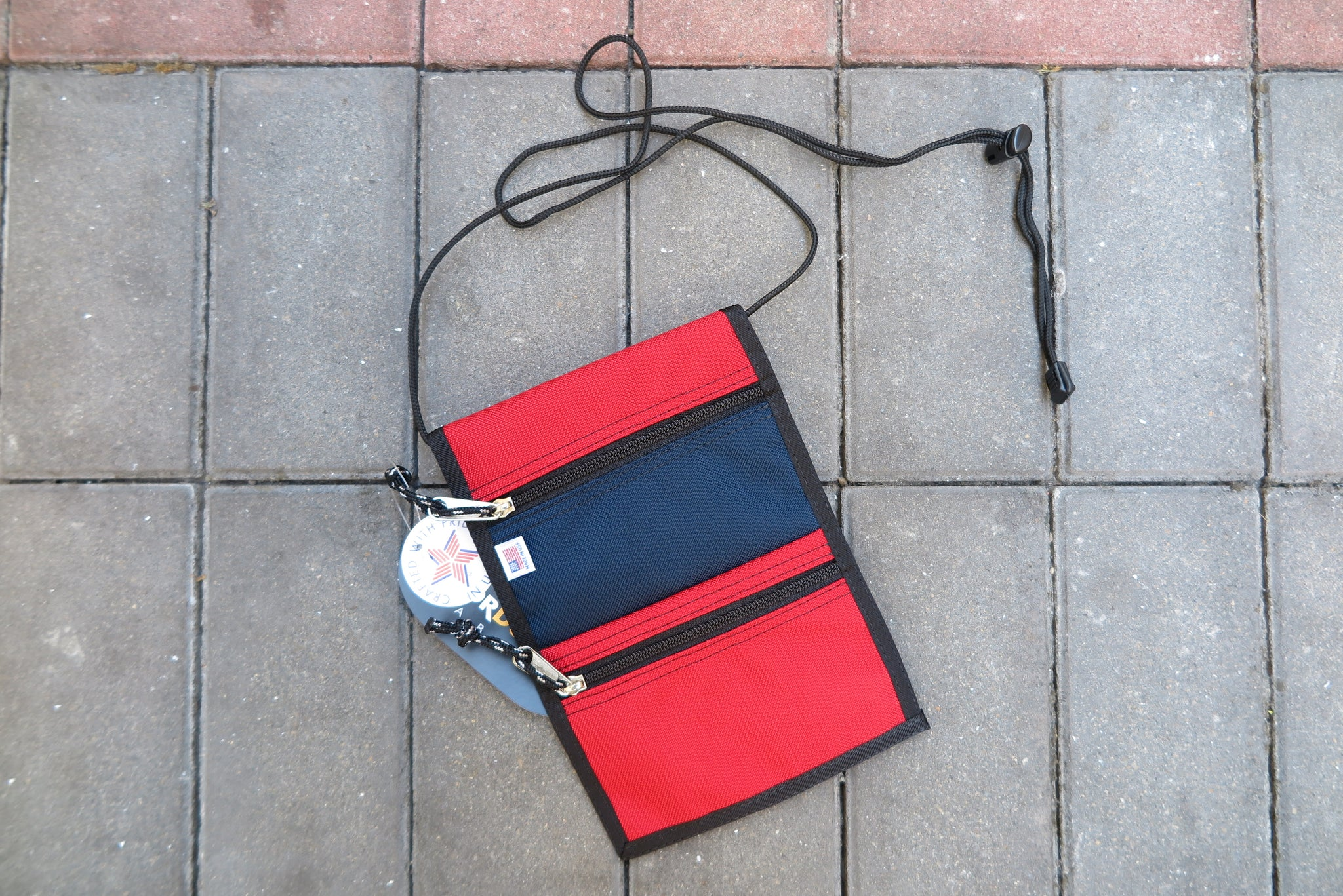 "Drifter Neck Pouch ""Made in USA"" - Navy/Red #DF0240-Bag-Navy Selected Shop"