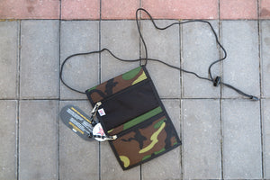 "Drifter Neck Pouch ""Made in USA"" - Black/Woodland Camo #DF0240-Bag-Navy Selected Shop"