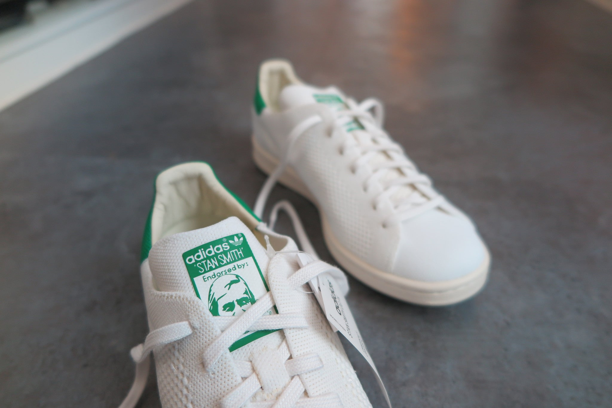 adidas Stan Smith Primeknit - Footwear White/Cream White/Green #S75146-Sneakers-Navy Selected Shop