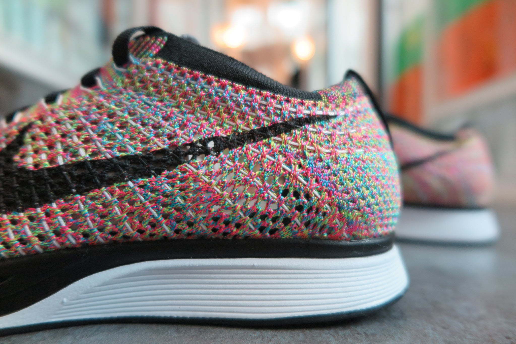 "Nike Flyknit Racer ""Rainbow 3.0"" - Dark Grey/Black/Blue Glow/Pink Foil #526628-004-Sneakers-Navy Selected Shop"
