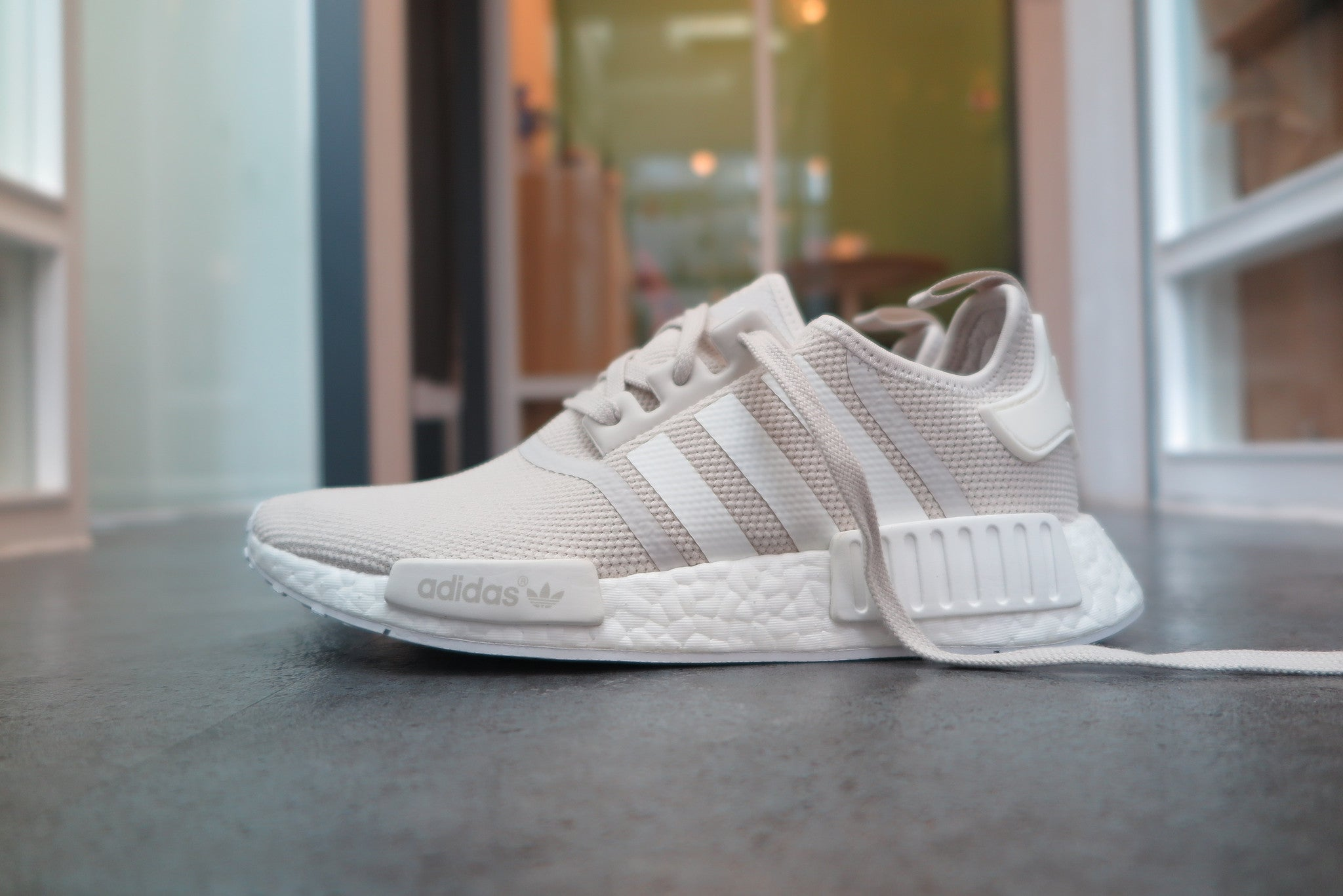 "adidas WMNS NMD_R1 ""Cream"" in Talc/Off White/Footwear White #S76007-Sneakers-Navy Selected Shop"