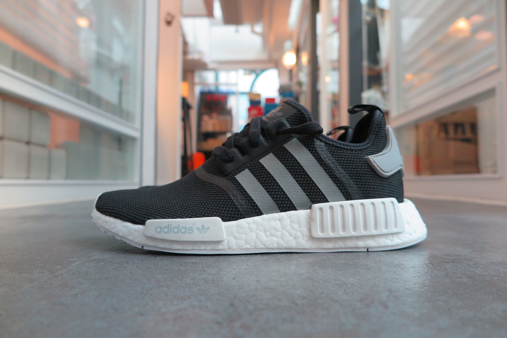 adidas NMD_R1 - Core Black/Solid Grey/White #S31504-Sneakers-Navy Selected Shop
