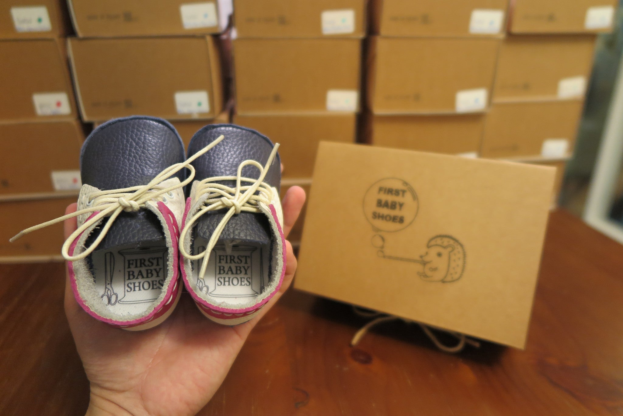 "First Baby Shoes SUSU model - Navy Blue/White/Pink ""Made in Poland""-Baby Shoes-Navy Selected Shop"
