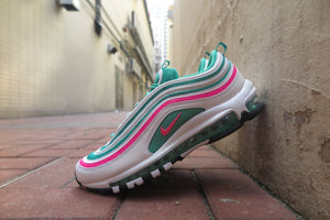 "Nike Air Max 97 ""South Beach"" - White/Pink Blast/Kinetic Green/Black #921826-102-Sneakers-Navy Selected Shop"