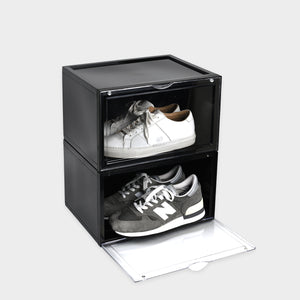 Aholic Magnetic Side Open Storage Shoe Box (側開式磁石波鞋收納盒) - Black (黑)-磁石鞋盒-Navy Selected Shop