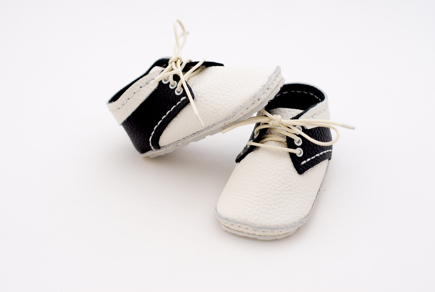 "First Baby Shoes SUSU model - Black/White ""Made in Poland""-Baby Shoes-Navy Selected Shop"