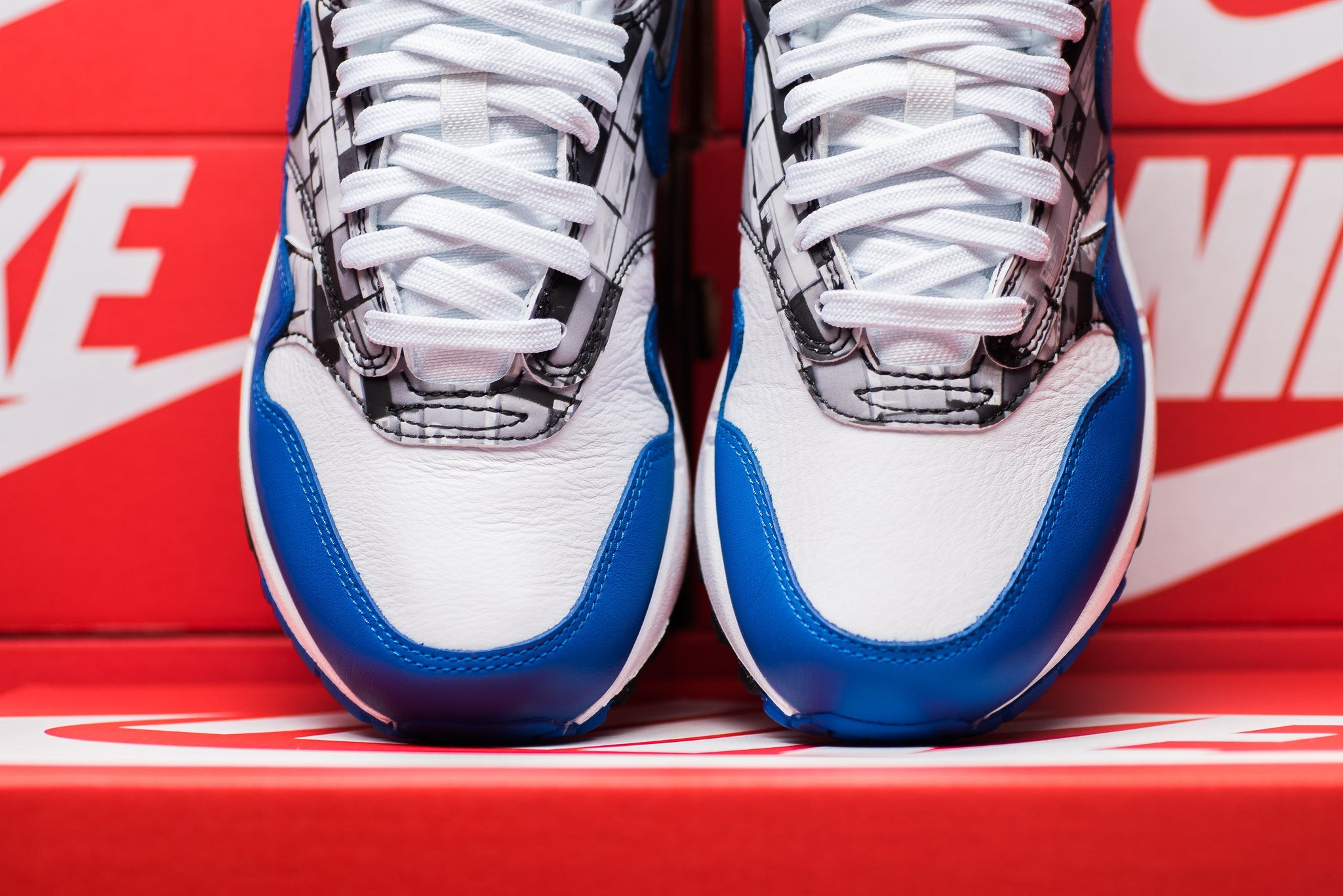 "atmos X Nike Air Max 1 Print ""We Love Nike"" - White/Game Royal/Neutral Grey #AQ0927-100-Preorder Item-Navy Selected Shop"