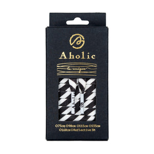 Aholic Be Unique Stripe Pattern Shoelaces (條紋鞋帶) - Black/White (黑白)-Shoelaces-Navy Selected Shop