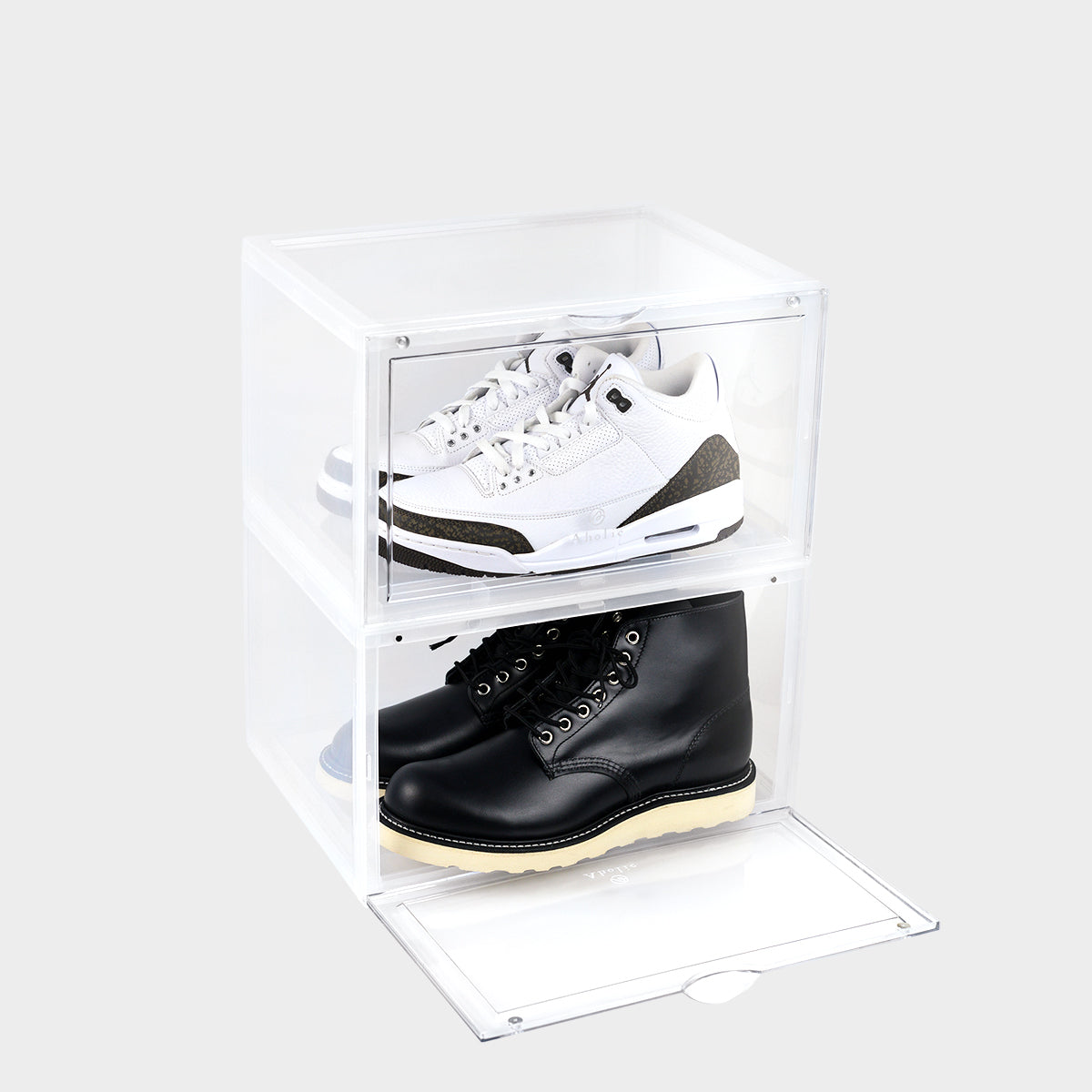 Aholic Magnetic Side Open Storage Shoe Box (側開式磁石波鞋收納盒) - Transparent (透明)-磁石鞋盒-Navy Selected Shop