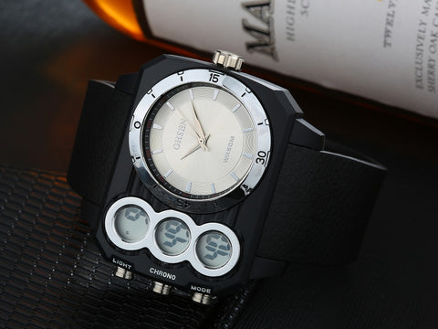Men Watch Oversized Digital Men Big Dial Watch AD1503 White Hot