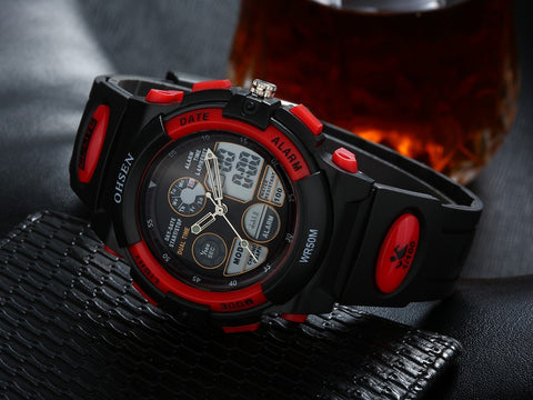 Boys Sports Watch Waterproof Quartz Watch AD1501 Red Hot