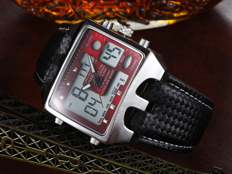 Hot Leather Waterproof Watches LCD Sports Watch AD0930 Red