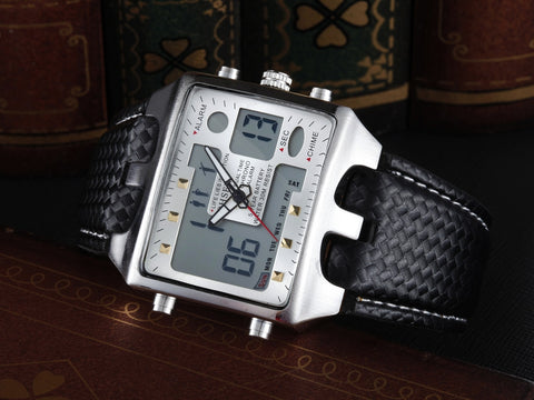 Hot Casual Digital LCD Watches Led Men Leather Watch AD0930 White