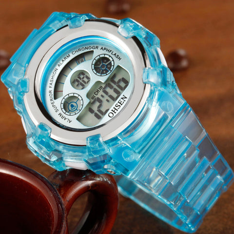 LED Digital Watch 7 Colors Watch OHSEN 1105 LightBlue For Kids