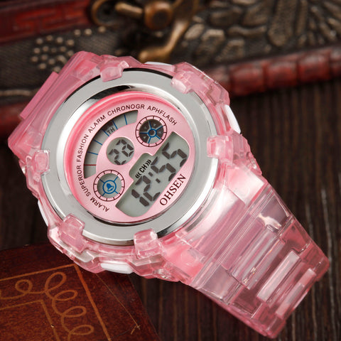 LED Watch 7 Colors OHSEN 1105 Pink Digital Kids Watch