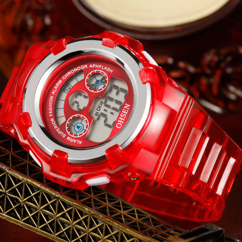 Digital Children Watch 7 Colors LED OHSEN 1105 Red Kids Watch