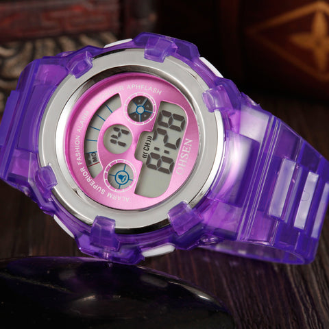 Fashion 7 Colors LED Watch OHSEN 1105 Violet Kids Watch