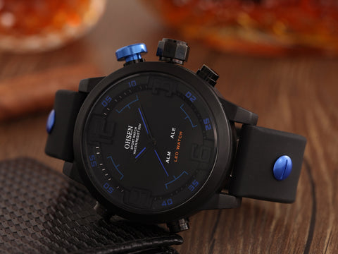 Blue Men's Quartz Watches AD2820R Silicone Band