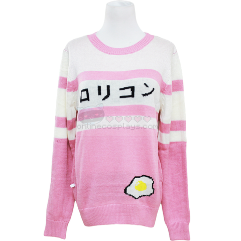 Pink and White Striped Kawaii Egg Sweater OC2859