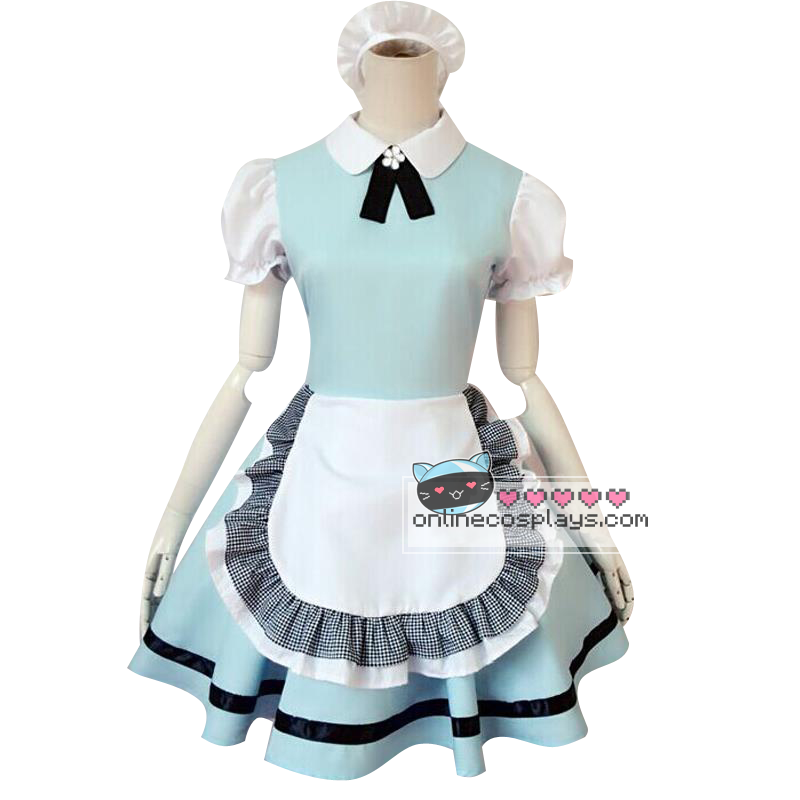Cosplay Cute Maid Pastel Blue Green Maid Dress OC1235