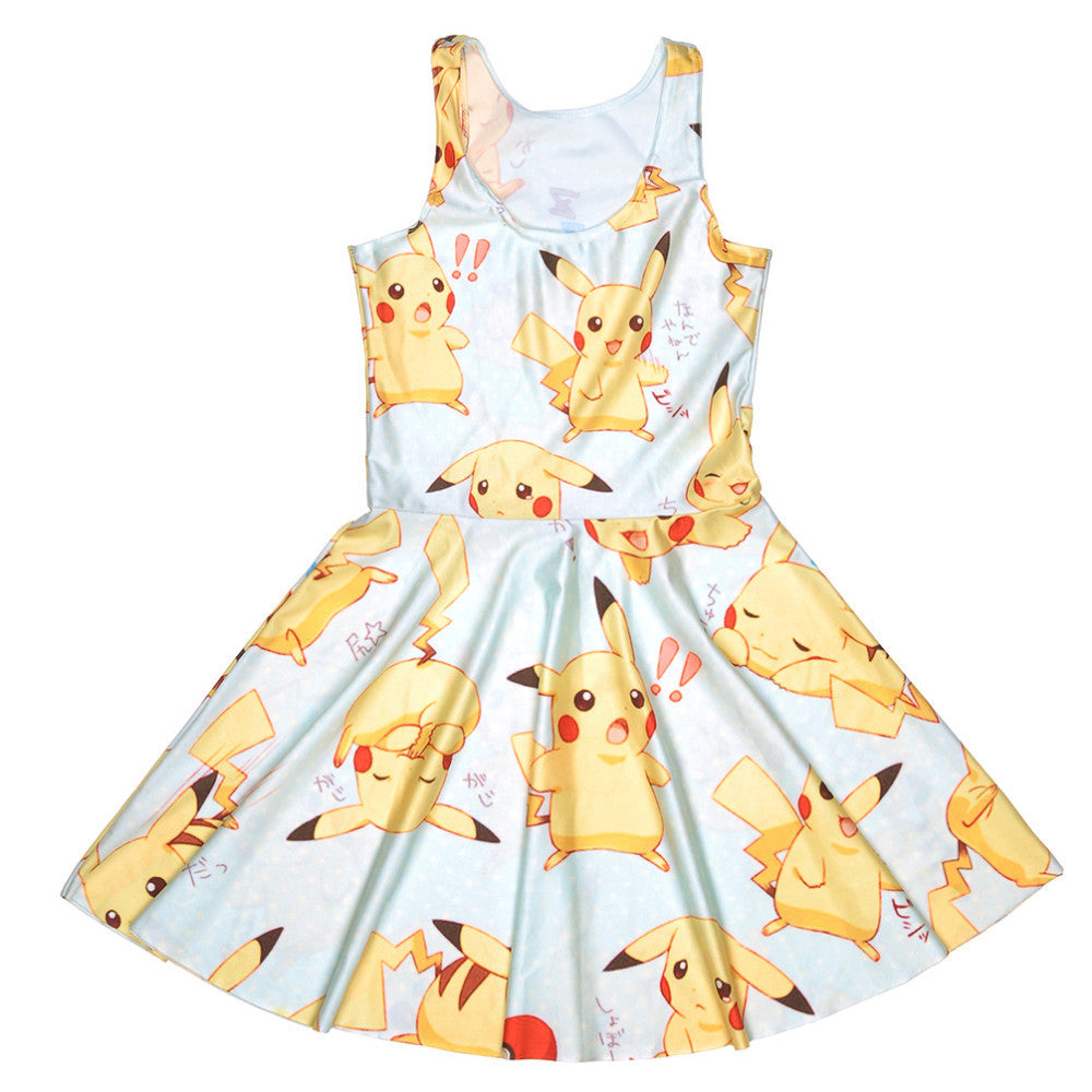 Japanese Anime Pokemon Pikachu Prints Dress