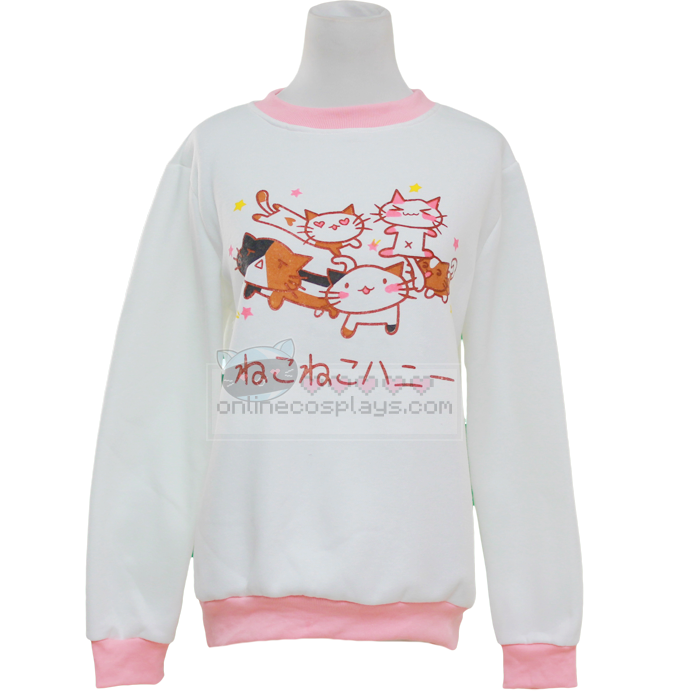 Five Cute Kitty Print Japanese Hiragana Sweater OC2912