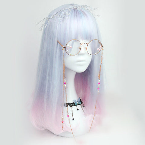 Mixed Rainbow Blonde Purple Blue Wig OC2065