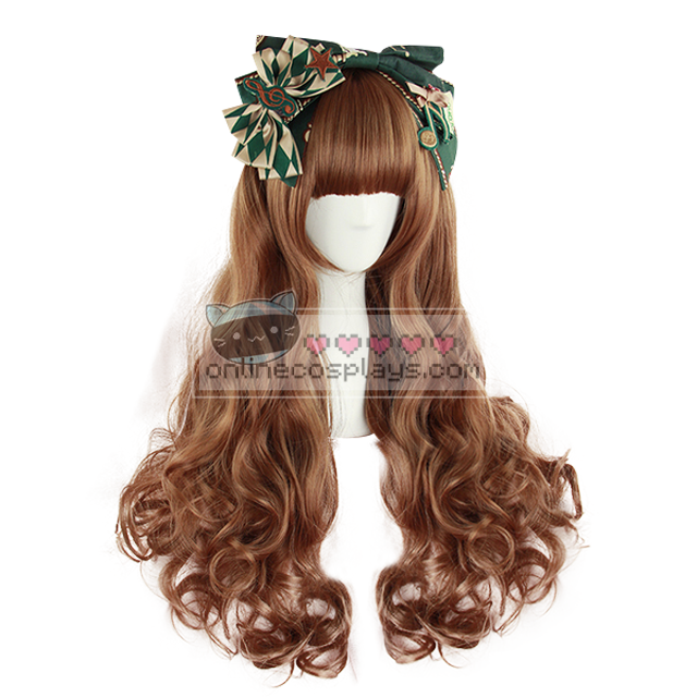 Natural Honey Brown Curly Cosplay Wig OC1007