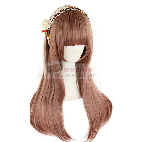 Harajuku Purple Brown Taro Color Straight Cosplay Wig OC1048