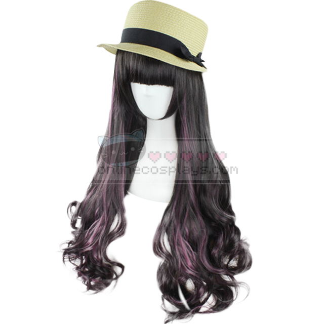 Natural black / Purple Blend Long Curly Cosplay Wig OC1212
