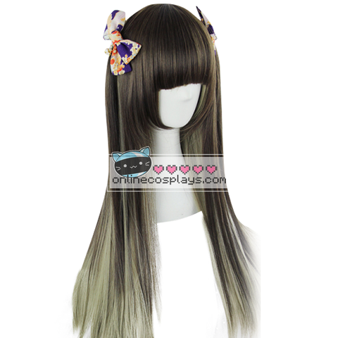 Grey to Black Long Gradient Wig