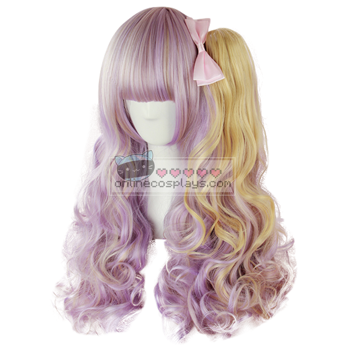 Purple / Blonde Mixed Double Pony Tail Curly Wig OC1699