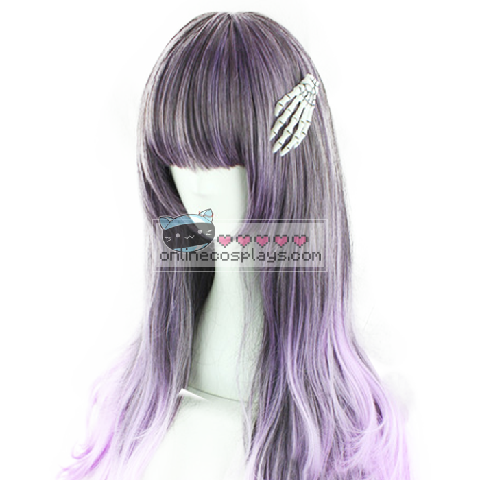 Dark Gray / Purple Gradient Curly Wig OC1831