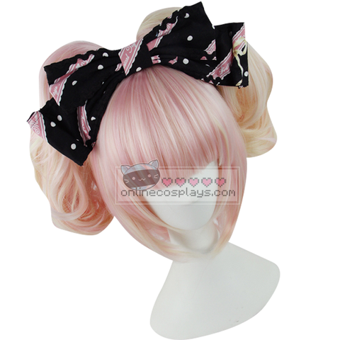 Lolita Cherry Pink and Blonde Mixed Short Double Pony Tail Curly Wig OC1901