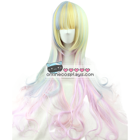 Pastel Blue and Pink Mixed Shoulder Length Wig