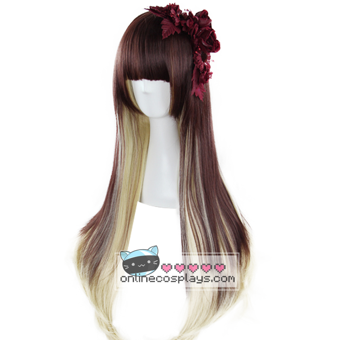 Brown / Blonde Mixed Gradient Straight Wig OC2491