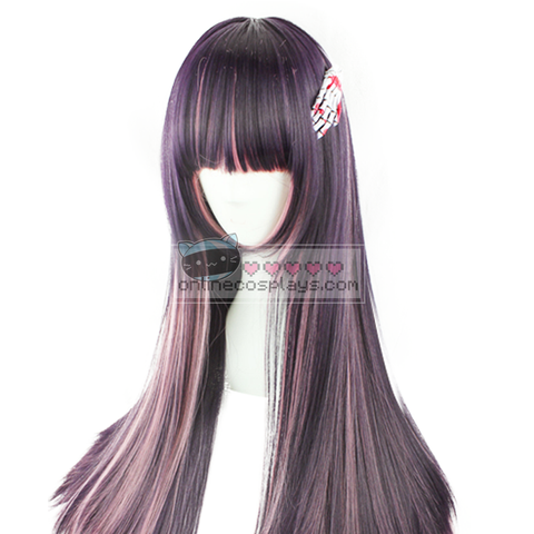 Dark Purple Pink Mixed Straight Wig OC2770