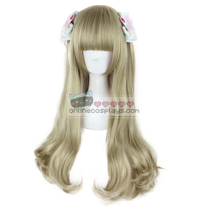 Blonde Gold Gray Long Curly Wig OC2803