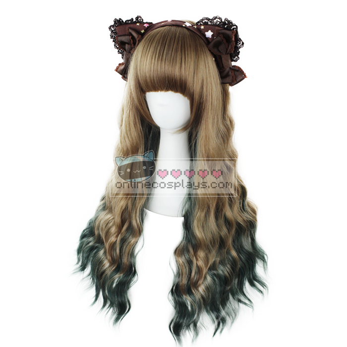 Dark Blonde Brown / Green Wavy Long Wig OC2873