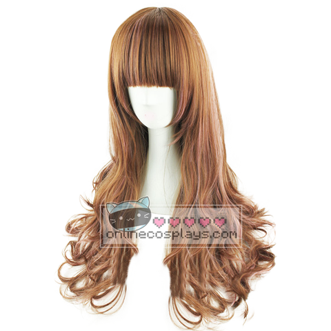 Natural Brown Pink Mixed Curly Wig OC2966
