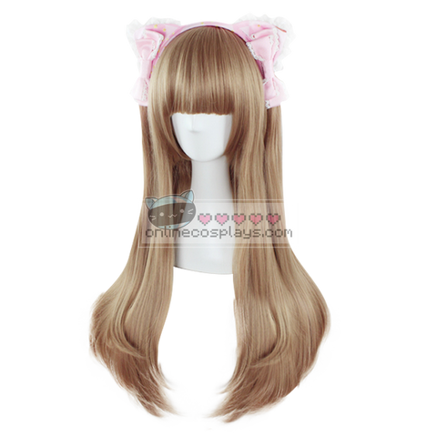 Natural Dark Brown Curly Long Wig OC1216