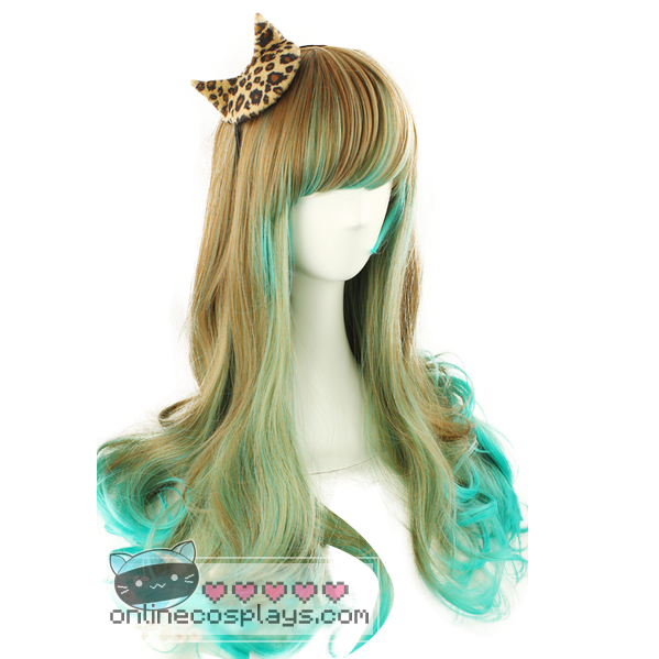 Light Brown Emerald Green Mixed Long Curly Wig OC388
