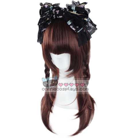 Red Brown Double Braided Medium Straight Wig OC5515