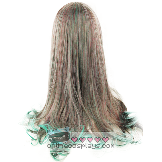 Grey Purple Green Long Curly Wig OC663