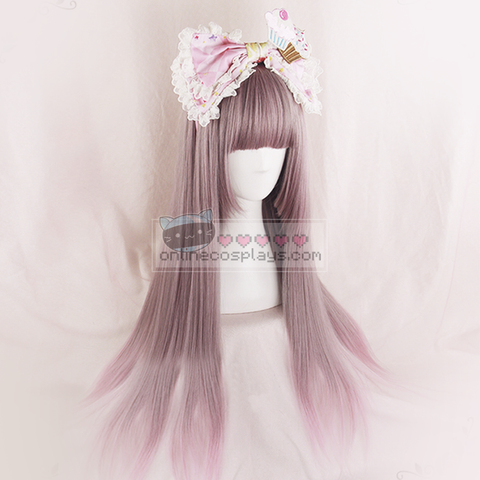Taro Purple Pink Grey Gradient Straight Wig OC2510