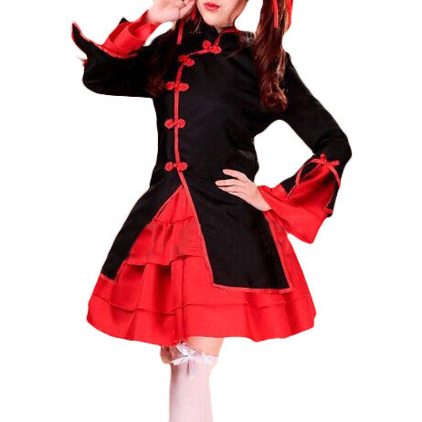Japanese Lolita Red and Black Chinese Dress OC5334