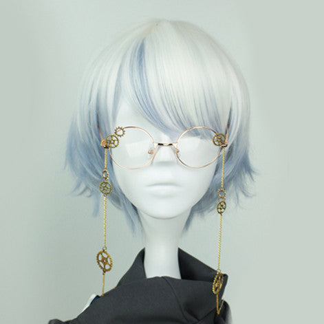 White and Blue Layered Short Harajuku Wig