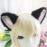 Kitty Cat Plush Fluffy Black with White Inside Ear Headband OC4535